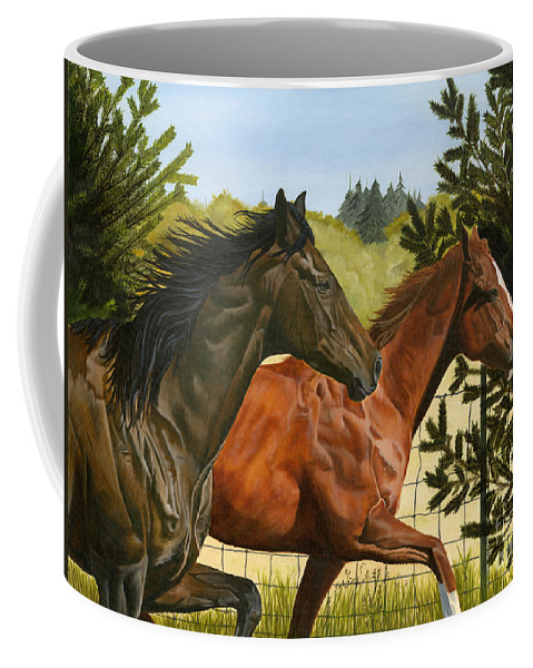 Horse Coffee Mug featuring the painting Inseparable by Jolene Scott