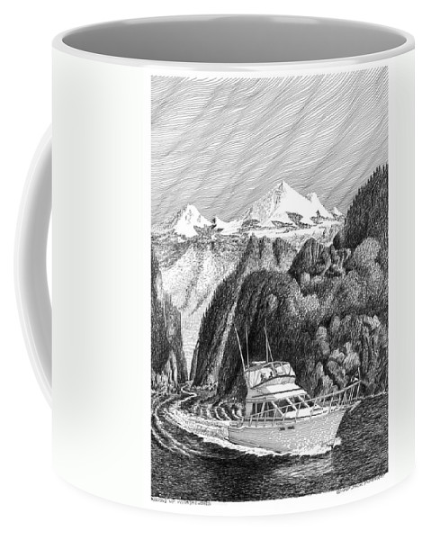 Yachting Coffee Mug featuring the drawing Cruising The Inside Passage by Jack Pumphrey