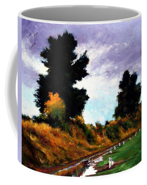 Landscape Coffee Mug featuring the painting Inside The Dike by Jim Gola