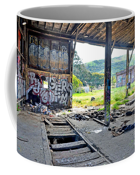 Destroyed Coffee Mug featuring the photograph Inside The Old Train Roundhouse At Bayshore Near San Francisco And The Cow Palace Iv by Jim Fitzpatrick