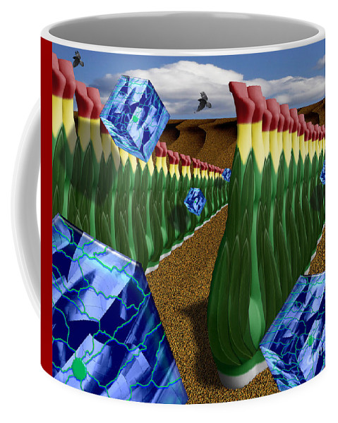 Digital Coffee Mug featuring the digital art Inspecting The Crops by Keith Dillon