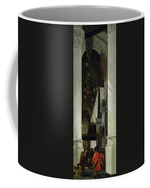 Interior View Of The New Church In Delft Coffee Mug featuring the painting Interior View Of The New Church In Delft by Emanuel de Witte
