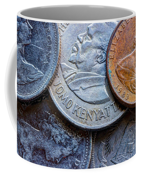 Currency Coffee Mug featuring the photograph International Coins by Heidi Smith