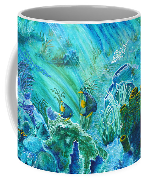 Underwater Coffee Mug featuring the painting Into The Blue by Aine Khell