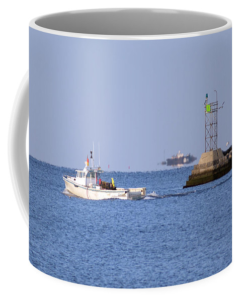 Boat Coffee Mug featuring the photograph Into The Blue by Joe Geraci