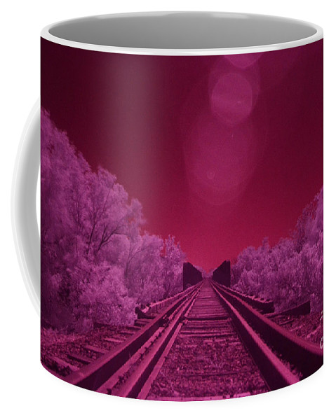Railroad Coffee Mug featuring the photograph Into The Darkness Of Light by Derry Murphy
