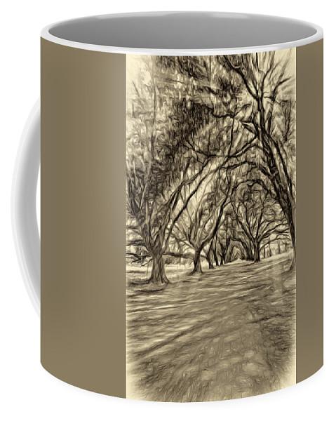 Evergreen Plantation Coffee Mug featuring the photograph Into The Deep South - Paint 2 Sepia by Steve Harrington