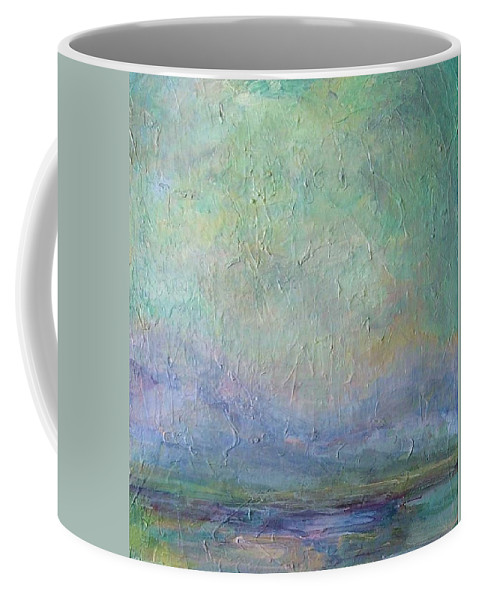 Landscape Coffee Mug featuring the painting Into The Morning by Mary Wolf