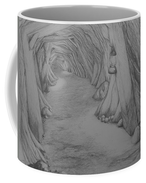 Animation Background Layout Drawing Landscape Spooky Cave Mine Coffee Mug featuring the drawing Into The Mountain by Brenda Salamone