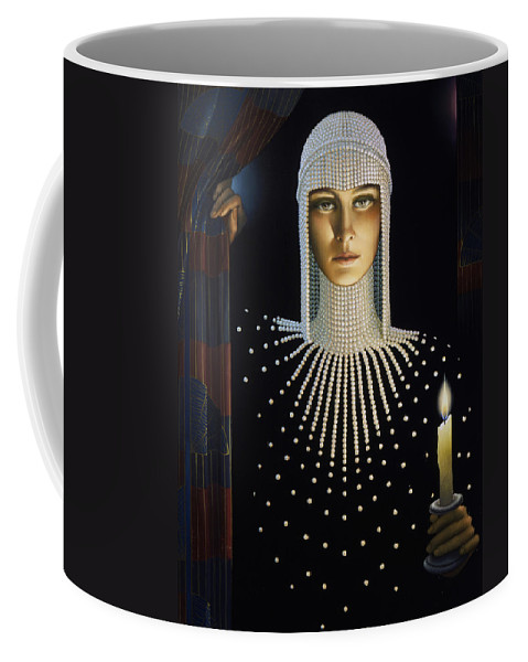 Intrique Coffee Mug featuring the painting Intrigue by Jane Whiting Chrzanoska