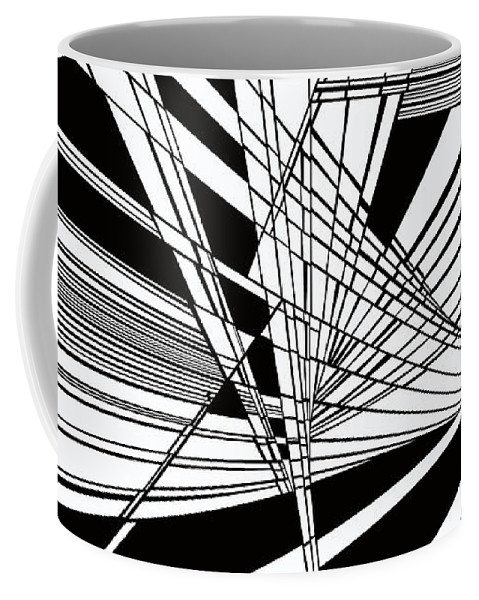 Dynamic Black And White Coffee Mug featuring the painting Introversion Four by Douglas Christian Larsen