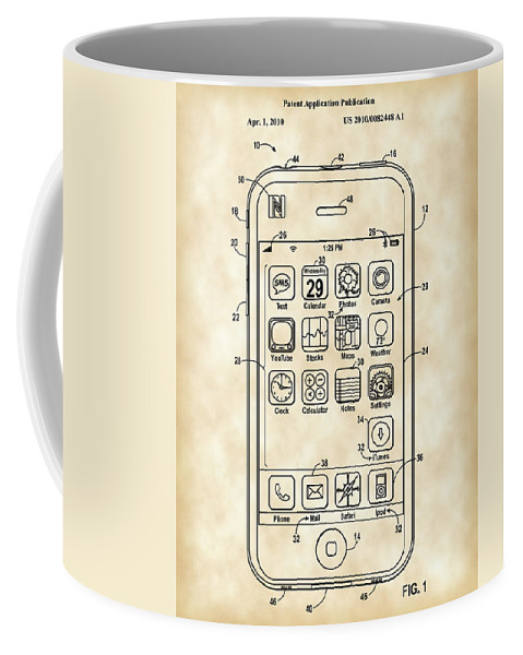 Iphone Coffee Mug featuring the digital art iPhone Patent - Vintage by Stephen Younts