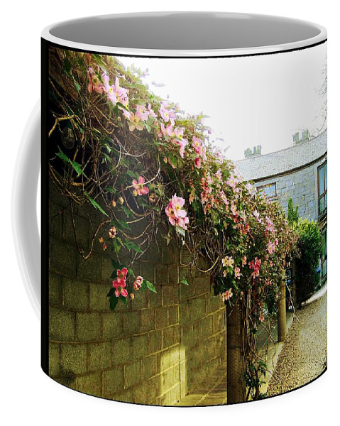 Ireland Coffee Mug featuring the photograph Ireland Floral Vine-topped Brick Wall by Ellen Cannon