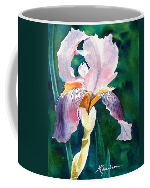 Iris Coffee Mug featuring the painting Iris 1 by Marilyn Jacobson