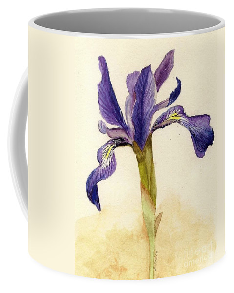 Iris Coffee Mug featuring the painting Iris by Barbie Corbett-Newmin