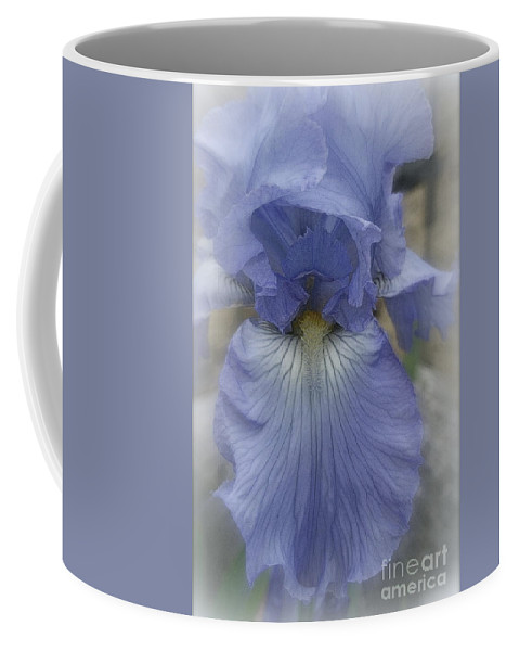 Blue Coffee Mug featuring the photograph Iris Heart by Kay Novy
