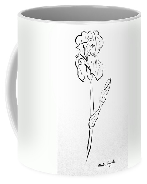 Abstract Coffee Mug featuring the drawing Iris II by Micah Guenther