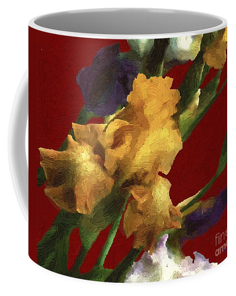 Flowers Coffee Mug featuring the painting Iris In The Rough by RC DeWinter