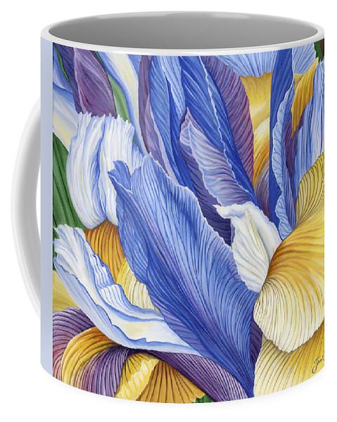 Iris Coffee Mug featuring the painting Iris by Jane Girardot