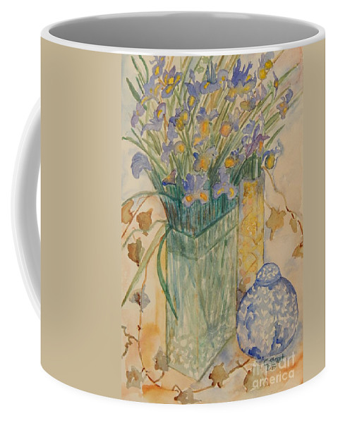 Iris Coffee Mug featuring the painting Irises With Chinese Pot by Caroline Street