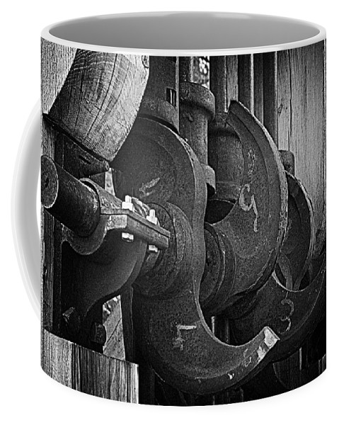 Black And White Coffee Mug featuring the photograph Iron And Wood by Mick Burkey