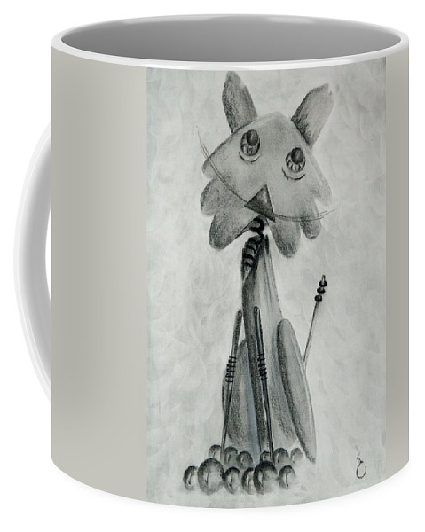 Cat Coffee Mug featuring the drawing Iron Cat by Daniel Sanchez