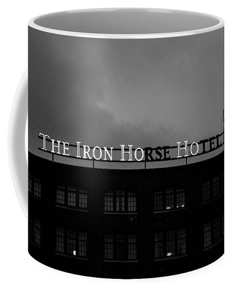 Iron Ho-ho Black And White Coffee Mug featuring the photograph Iron Ho-ho Black And White by Susan McMenamin
