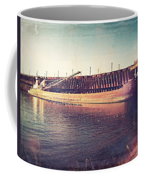 Iron Ore Freighter Coffee Mug featuring the digital art Iron Ore Freighter In Dock by Phil Perkins