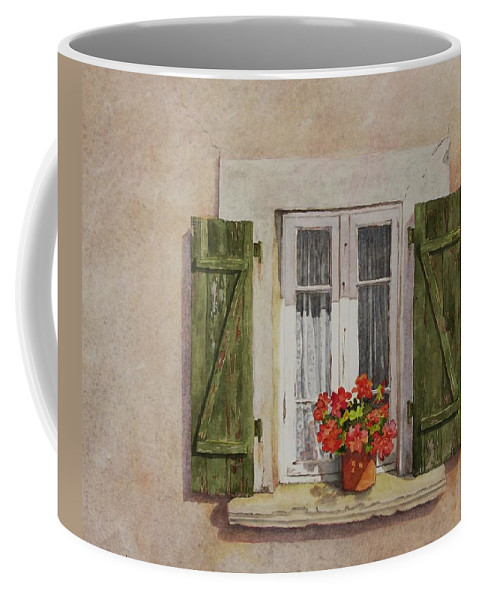 Watercolor Coffee Mug featuring the painting Irvillac Window by Mary Ellen Mueller Legault