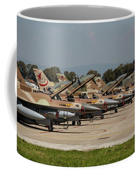 Greece Coffee Mug featuring the photograph Israeli Air Force F-16`s Of Three by Timm Ziegenthaler