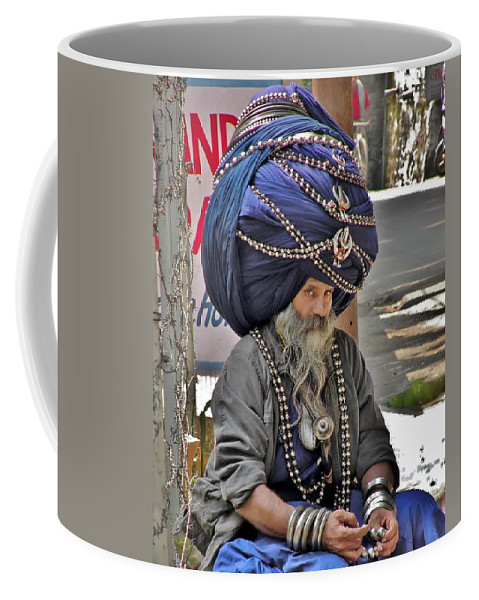 Portrait Coffee Mug featuring the photograph Its All In The Head - Rishikesh India by Kim Bemis