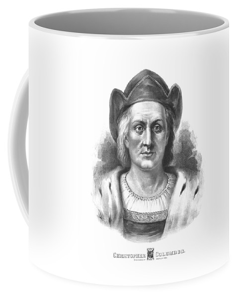 Christopher Columbus Coffee Mug featuring the drawing Italian Explorer Christopher Columbus by War Is Hell Store