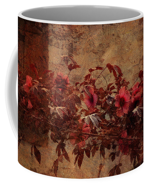Flower Coffee Mug featuring the photograph Italian Impasto Style Coral Floral Branch by Carla Parris