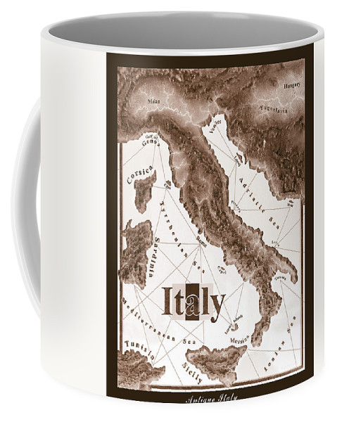 Italian Coffee Mug featuring the mixed media Italian Map by Curtiss Shaffer