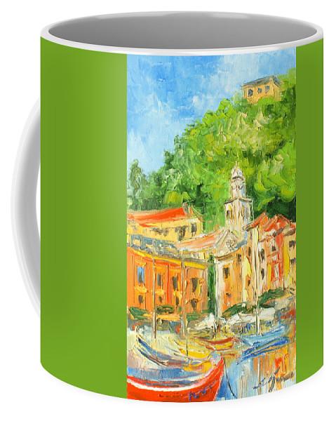 Portofino Coffee Mug featuring the painting Italy - Portofino by Luke Karcz