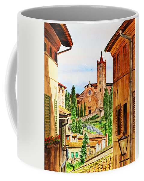 Siena Coffee Mug featuring the painting Italy Siena by Irina Sztukowski
