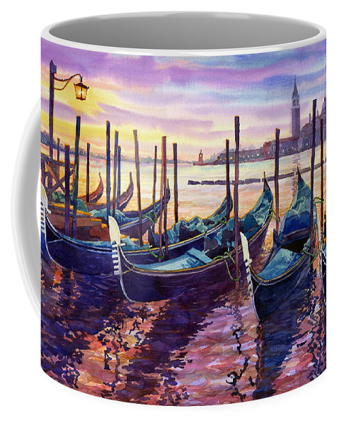 Watercolor Coffee Mug featuring the painting Italy Venice Early Mornings by Yuriy Shevchuk