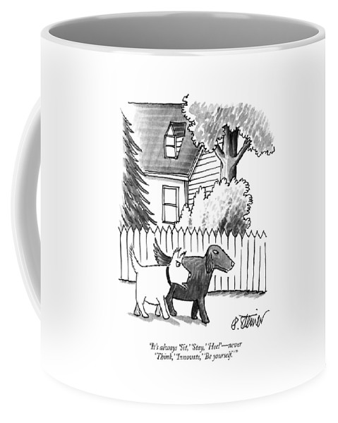 It's Always 'sit Coffee Mug featuring the drawing It's Always Sit by Peter Steiner