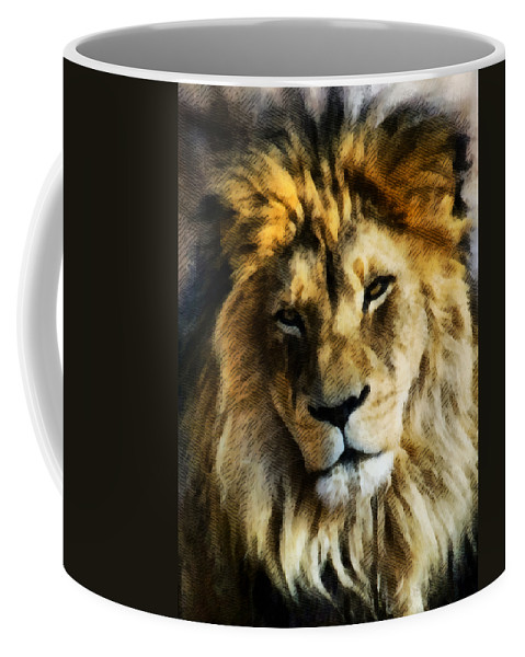 Lion Coffee Mug featuring the mixed media Its Good To Be King Portrait Illustration by Angelina Vick