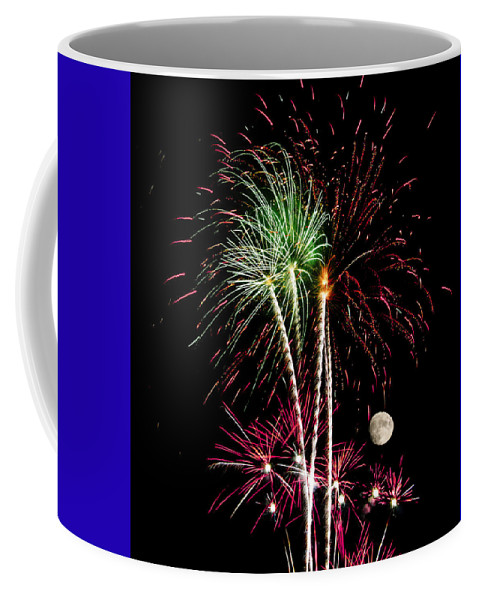 Abstract Coffee Mug featuring the photograph Its Raining Red Drops On The Red Flowers - Fireworks And Moon by Penny Lisowski