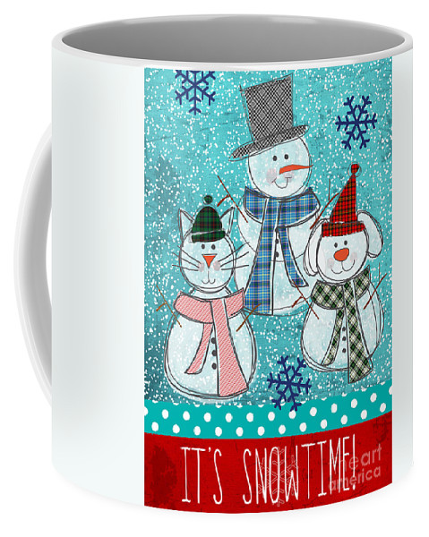 Snowman Coffee Mug featuring the painting It's Snowtime by Linda Woods