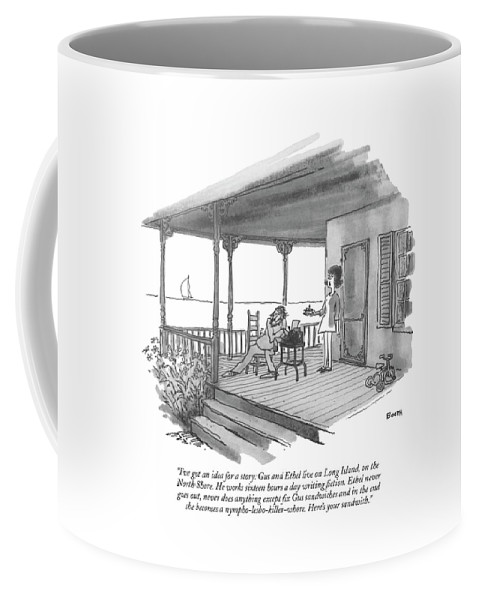 Marriage Coffee Mug featuring the drawing I've Got An Idea For A Story: Gus And Ethel Live by George Booth