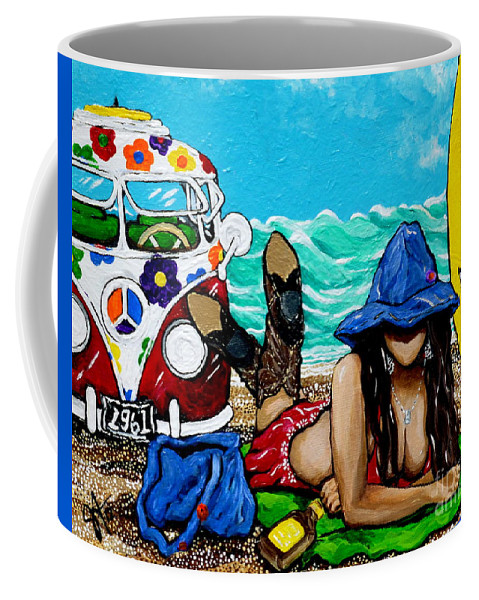 J. C. Coffee Mug featuring the painting J. C. Beaching It In 1961 by Jackie Carpenter