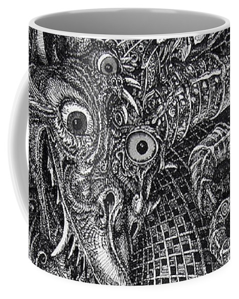 Surrealism Coffee Mug featuring the drawing Jabberwocky by Otto Rapp