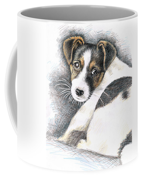 Dog Coffee Mug featuring the drawing Jack Russell Puppy by Nicole Zeug