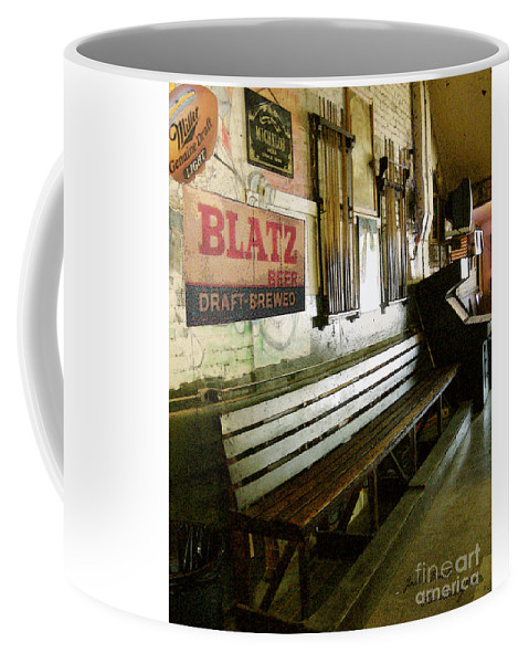 Jacks Pool Room Coffee Mug featuring the photograph Jack's Bench by Lee Owenby