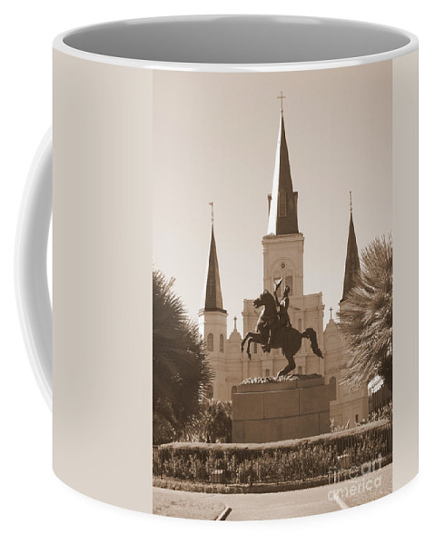 New Orleans Coffee Mug featuring the photograph Jackson Square Statue In Sepia by Carol Groenen