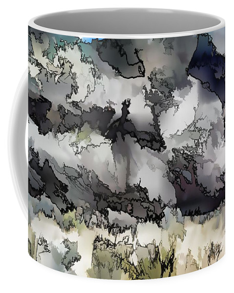 Abstract Coffee Mug featuring the digital art Jagged And Flowing by Jim Buchanan
