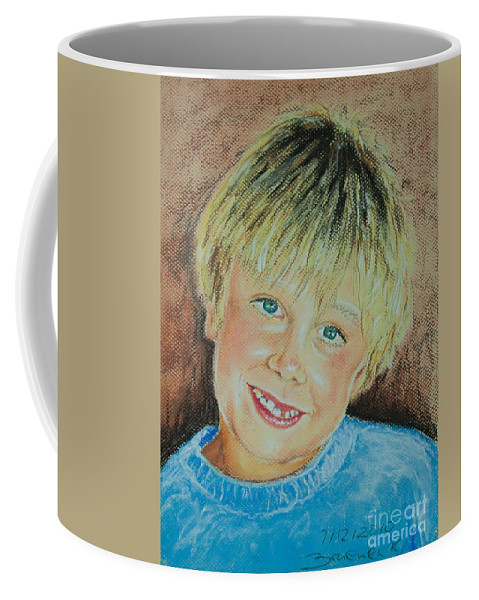 Boy Coffee Mug featuring the pastel Jake by Katharina Filus