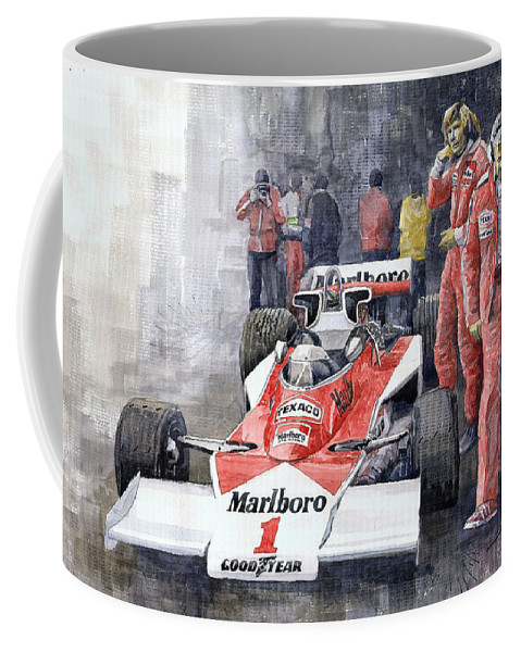 Watercolor Coffee Mug featuring the painting James Hunt Monaco Gp 1977 Mclaren M23 by Yuriy Shevchuk